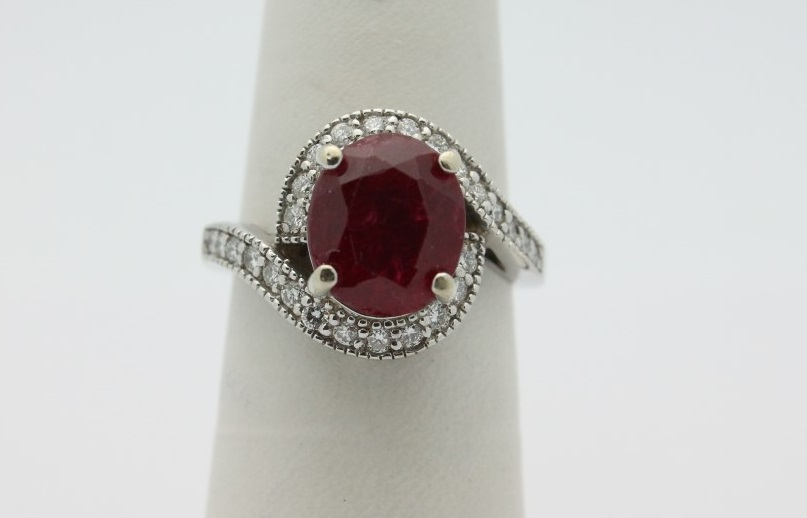 14k wg white gold chunky simulated ruby cocktail ring sz 7 for Cocktail 3g